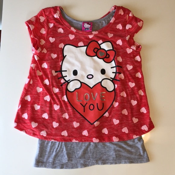 f629363b9 Hello Kitty Shirts & Tops | Love You Size 78 Short Sleeved Top ...